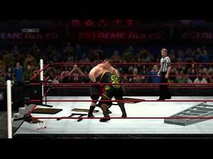 Brock Lesnar vs. Mark Henry in a WWE 2K14 Extreme Rules Match