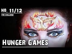 Hunger Games inspired face painting! Face painting Fire challenge 11/12