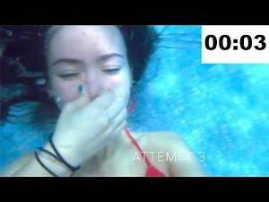 UNDERWATER BREATH HOLD COMPILATION UNDERWATER TIMED BREATH HOLDING ON BOTTOM SWIMMING POOL