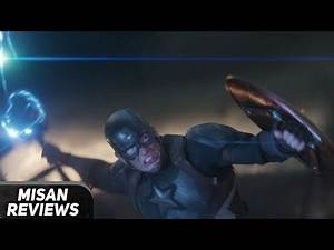 Captain America wields Mjolnir/Thor's hammer against Thanos in Avengers Endgame
