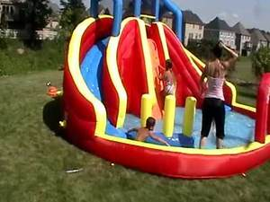 Banzai twin drop falls water slide and pool.MOD