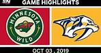 NHL Highlights   Wild vs. Predators - Oct. 03, 2019