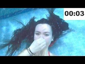 UNDERWATER BREATH HOLD COMPILATION UNDERWATER TIMED BREATH HOLDING SITTING ON BOTTOM SWIMMING POOL