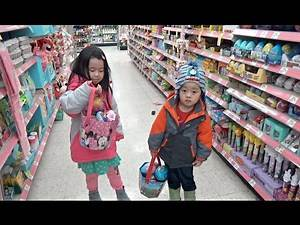 Easter Eggs Hunting and Shopping for Toys at the Store