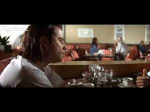 Samuel L. Jackson (Jules) & John Travolta (Vincent) in restaurant (pulp fiction 1994)