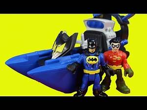 Imaginext Batman Batboat Rescues Robin From Pirate Sharks Manta Joker Riddler Bane