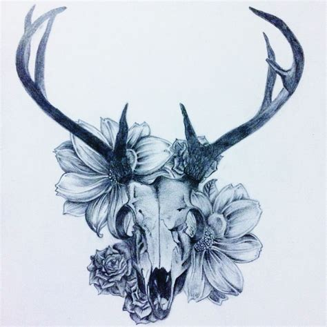 Animal Skull Drawings With Flowers
