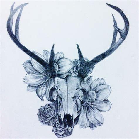 Drawings Deer Skull With Flowers
