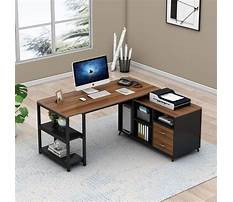 L shaped computer desk with drawers Plan