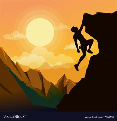Man Climbing Mountain Cartoon