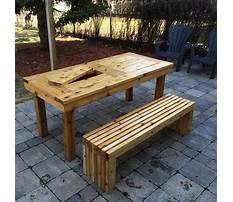 Outdoor bench with table Plan