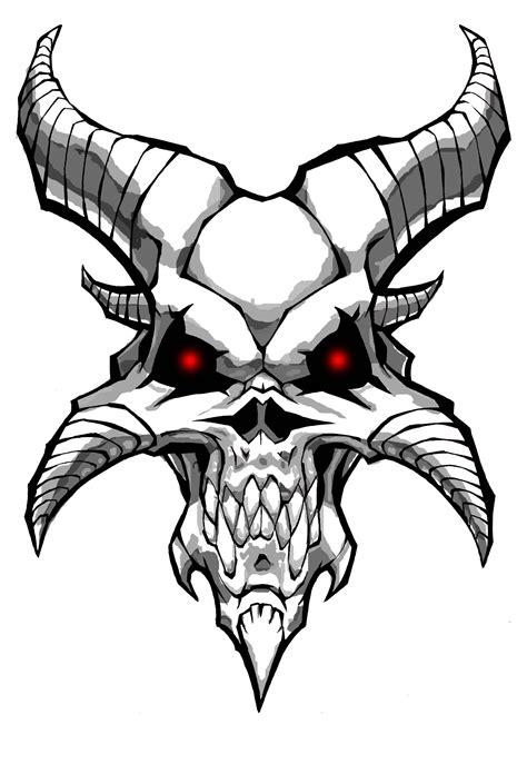 Pencil Drawings Demon Skulls