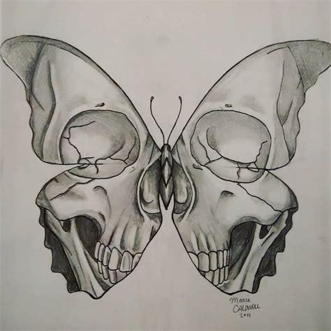 Skull Butterfly Drawing