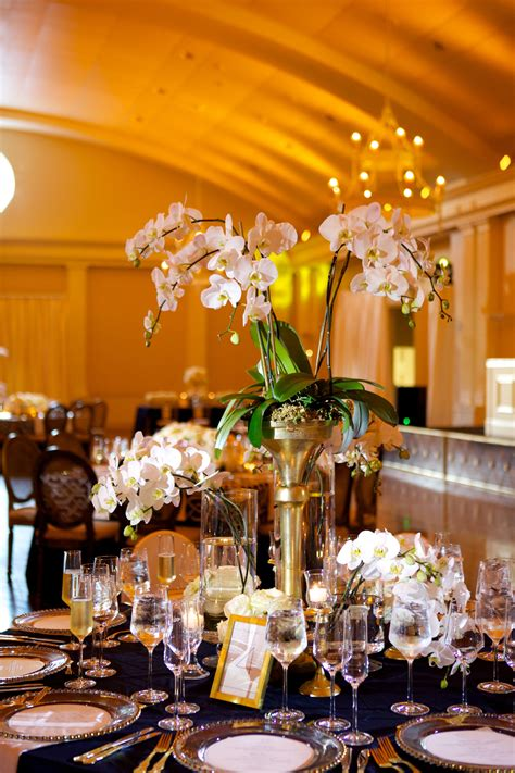 White Orchid Wedding Centerpieces With Gold
