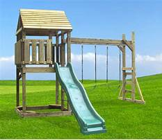 Wooden single swing and slide set Plan